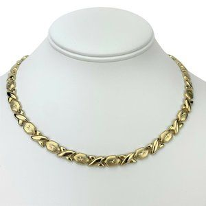 Jewelry - 14k Gold 19.2g Hugs and Kisses XO Necklace 17""